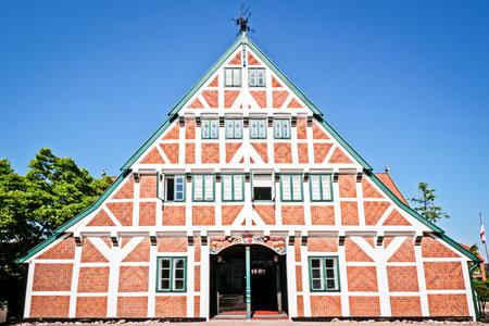half  timbered: typical old half timbered facade at the altes land near hamburg - germany