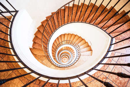 beautiful spiral staircase at a villa photo