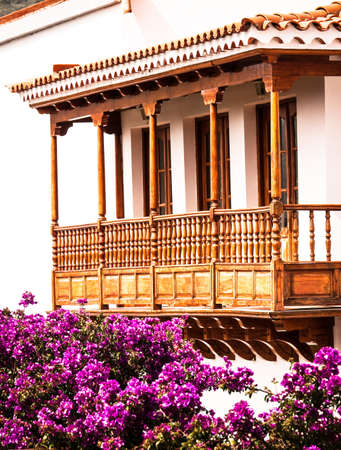 typical old wooden balcony at the canary islands Stock Photo - 17386521