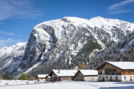 old farmhouses at the karwendel mountains in austria photo