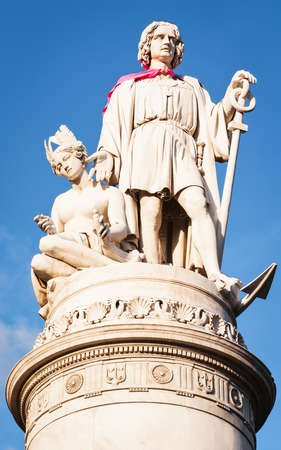 christopher: famous antique statue of christopher columbus at genua italy