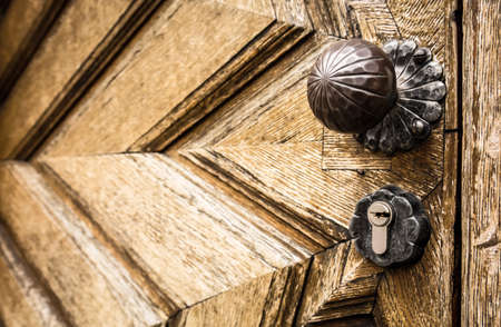 old doorknob at a frontdoor photo