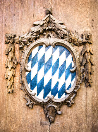 typical historic bavarian coat of arms - blue and white checked