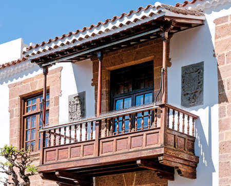 typical old wooden balcony at the canary islands Stock Photo - 17465402