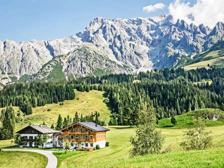 log cabin: dolomites in austria and italy - european alps Stock Photo
