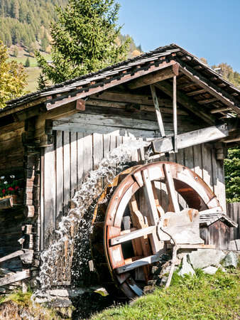 water wheel: old watermill at a farm Stock Photo