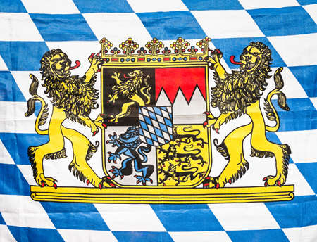 bavarian flag with the bavarian coat of arms photo