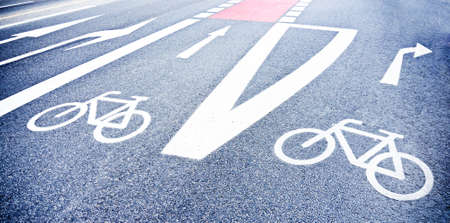 bicycle lane: new bicycle lane at a street Stock Photo