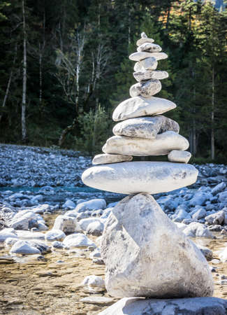 riverbed: stack rocks at a creek in austria Stock Photo