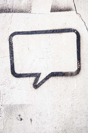 speech bubble at a wall - space for text Stock Photo - 17743620