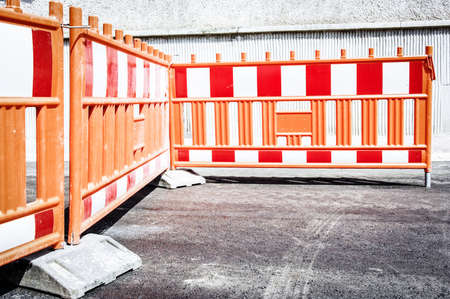 security barrier: security barrier at a road construction site