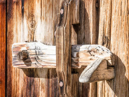 old wooden latch at a log cabin Stock Photo - 17846042