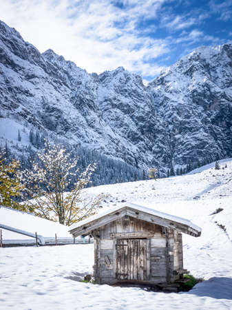old hut at the eng-alm - karwendel mountains photo