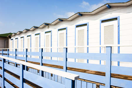 huts: locker rooms at a beach in italy Stock Photo