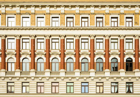 brownstone: beautiful old facade at a historic building