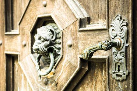 doorknocker: old doorknob at a frontdoor