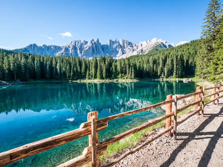karerlake in italy - at the background the dolomites