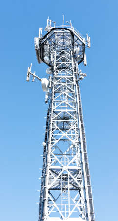 high section of a modern communication tower photo