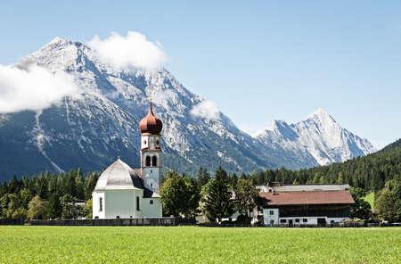 typical bavarian church near the european alps