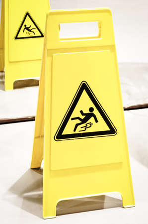 caution wet floor sign at a corridor Stock Photo - 18439537