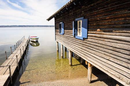 fishing hut: old fishing hut at a lake