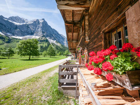old farmhouse at the karwendel mountain - austria