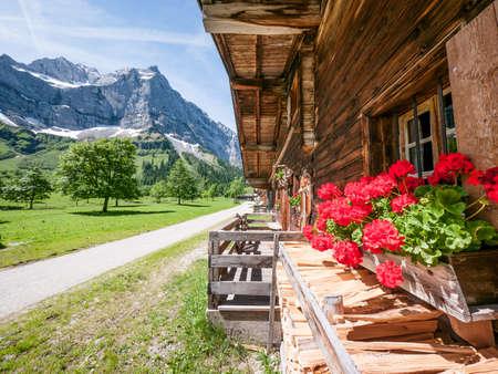 old farmhouse at the karwendel mountain - austria