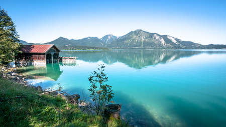 old fishing hut at the walchensee in germany photo