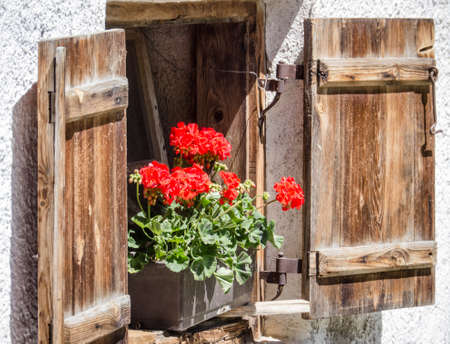 window at a typical old bavarian farmhouse