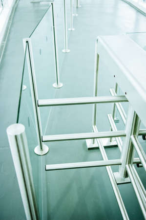 security barrier: modern security barrier - turnstile - close-up - photo