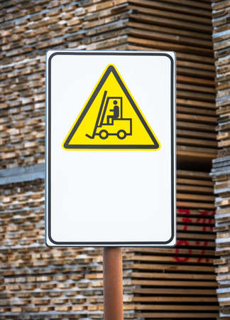 forklift sign at a factory photo