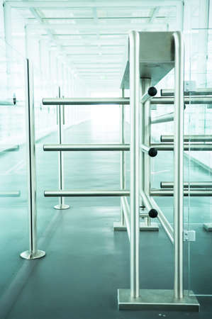 turnstile: modern security barrier - turnstile - close-up - photo