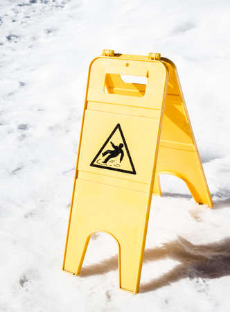 caution wet floor sign at an entrance Stock Photo - 18935228