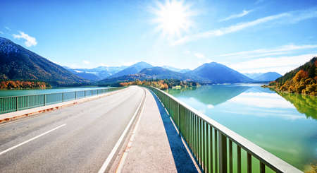the bigger picture: famous sylvenstein lake in bavaria - germany