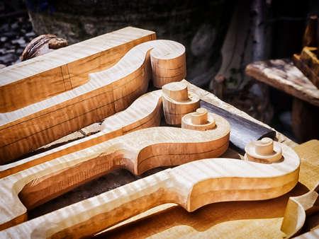 violin making: violin scrolls at a store near vienna