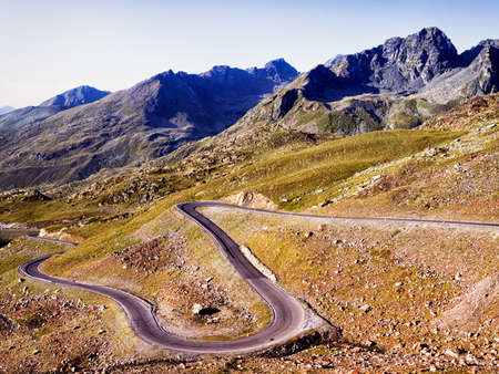 winding road at the european alps photo