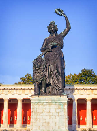 famous statue of bavaria at the theresienwiese in munich - germany Stock Photo - 19912134