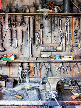 antique shop: old workbench