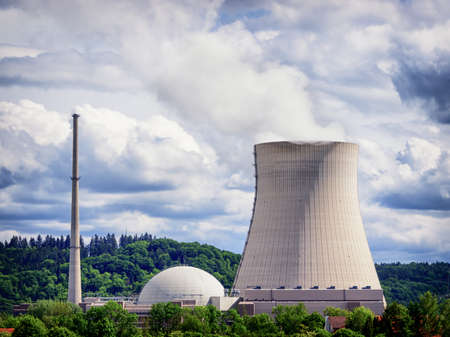 cooling tower: cooling tower - cooler - in front of cloudy sky Stock Photo