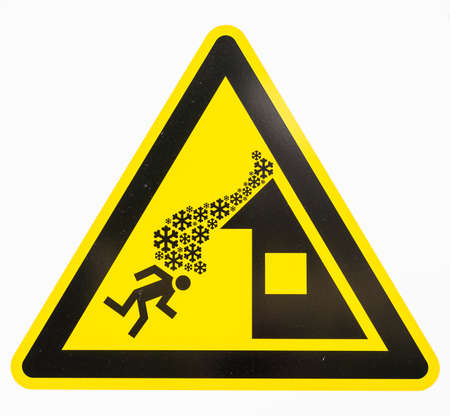 avalanche: danger sign for roof avalanche Stock Photo