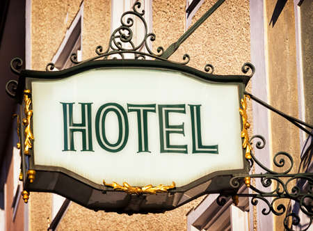 hotel sign: antique hotel sign in germany