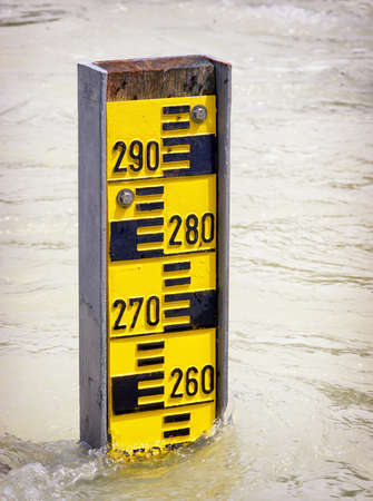 water level indicators at a river photo