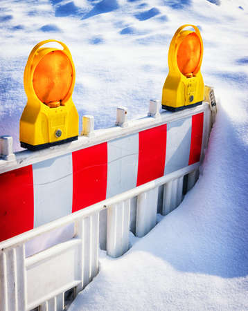 security barrier: modern security barrier with snow