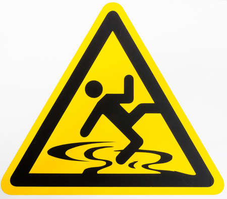 caution wet floor sign at a sidewalk Stock Photo - 22867371