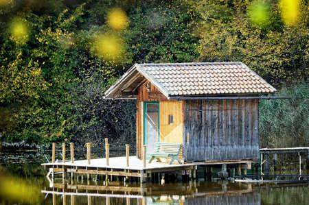 fishing hut: old wooden fishing hut at a lake Stock Photo