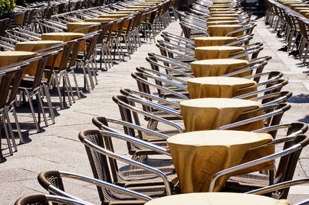 rows of chairs at a cafe photo