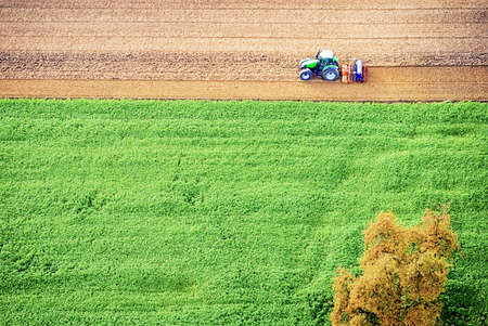 tractor - view out of a hotair ballon