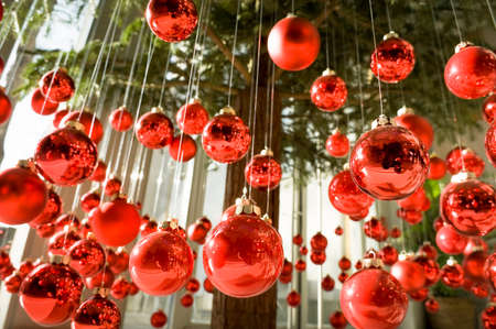 hanging christmas baubles at a christmas tree
