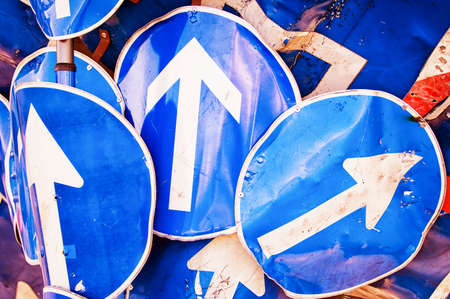 one lane roadsign: three arrow signs - german road signs