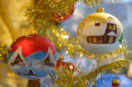 typical old christmas baubles for decoration photo